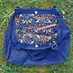 4Freizeiten: Taschenspieler 4 - EdelShopper, Farbenmix, Shopper nähen, große Tasche, Negativapplikation rund, Dry Oilskin dunkelblau