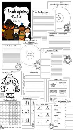 Thanksgiving Packet Writing & Math Grades 3-4 (17 pages!) $4
