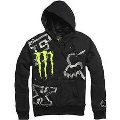 Fox Racing Monster Ricky Carmichael Replica Downfall Sasquatch Men`s Hoody Zip Sportswear Sweatshirt/Sweater Black Fox Racing Clothing, Fox Rider, Rock Star Outfit, Fox Brand, Flex Fit Hats, My Guy, Zip Hoodie, Hoody, Black Sweaters