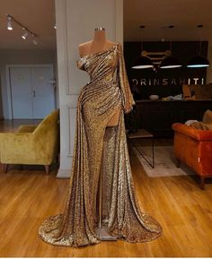 Saudi Arabia Mermaid Gold Sequined Long Sleeves Evening Dress One Shoulder High Split Prom Dresses Long Women Formal Party Gowns - Style B 4 China Pretty Dresses, Sexy Dresses, Beautiful Dresses, Fashion Dresses, Fashion Clothes, Summer Dresses, Flowy Dresses, Split Prom Dresses, Mermaid Prom Dresses