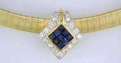 18kt Yellow Gold Satin finish 6 mm Domed Omega Choker and   18kt YG Sapphire & Diamond Slide Pendant .