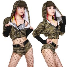 Women Casual Cheerleading Uniforms Sexy  Costumes Camouflage Crop Top  Suit 2 Piece Suits Shorts Sets 2017 Hot High Quality