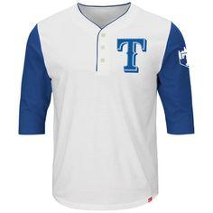 Men's Texas Rangers Majestic White/Royal Big Time Fan Raglan Three-Quarter Sleeve T-Shirt