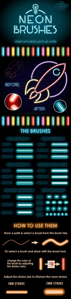 Neon Brushes For Adobe Illustrator #design #ai Download: http://graphicriver.net/item/neon-brushes/13195623?ref=ksioks