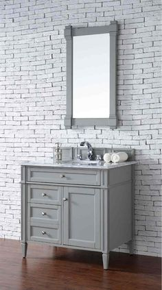 James Martin Furniture Brittany 36 Urban Gray Single Vanity With 2 Cm Carrara White