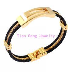 Charming Unisex Men Women's Bangle Cuff  Wristband Wrap 316L Stainless Steel Gold Black Bracelet New Jewelry