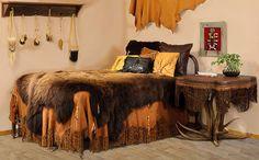 Native American Bedroom Furniture | Buckskin Rendezvous - Elk Hide and Antler Table