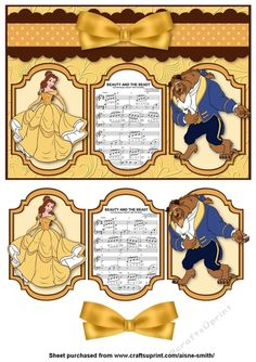 Beauty & The Beast Panel Card by Aisne Smith An card front featuring Beauty & The Beast with cut-out panel pieces and bow to enhance the… Disney Theme, Quick Cards, A5, Beauty And The Beast, Decoupage, Disney Characters, Fictional Characters, Card Making, Bows