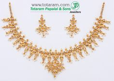 22K Gold Uncut Diamond Necklace & Drop Earrings Set with Pearls - DS219 - Indian Jewelry from Totaram Jewelers