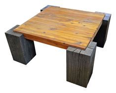 The Timber Coffee Table by Evolutia | The table top is built from Antique Heart Pine reclaimed from the Springs Mill that was located in Lancaster, SC. The naturally weathered Oak timber legs are coated with an environmentally safe