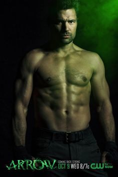 """Manu Bennett as new regular and shirtless Slade Wilson. 