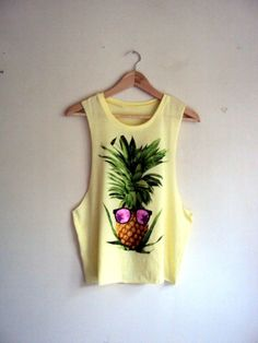 Hipster Pine Apple Tank Top Cut Out Cropped Top Yoga Fitness Workout Beach Tank Summer Tops Teen Fashion Casual Clothing Hipster T-Shirts by GrahamsBazaar, $25.00