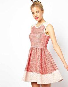 Asos Sleeveless Skater Dress In Colourblock