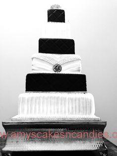 Hollywood Glamour square black & white wedding cake