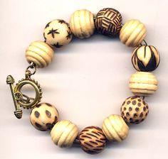 wood burned beads - for bracelet or necklace