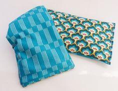Bouillotte de blé bio, 45 cm x 13 cm tissus motifs Turquoises Coquilles et Lignes : Soin, bien-être par zig-et-zag