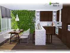 A new modern kitchen with simple and clear lines, and a lovely touch of nature :) Found in TSR Category 'Sims 4 Kitchen Sets'