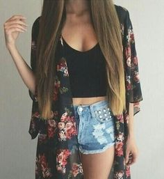 Black crop-top, studded and destroyed denim shorts, and a kimono! :D