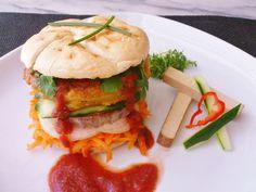 Homemade veggie polenta curry hummus burger! #vegan #organic #glutenfree #healthyeating #food
