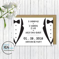 Same Sex Wedding invitation... Gay Wedding invitation... LGBT Weddings... Love is Love wedding invitations... 2 Grooms Wedding Save the Date... Tux Wedding Save the Date... visit www.keaidesigns.com/wedding