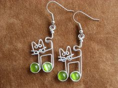Cat EARRINGS with music notes olive green by chatnoir77 on Etsy, $16.00