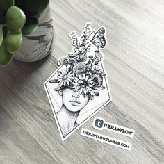 Dotwork flowers portrait tattoo, commission for Anna