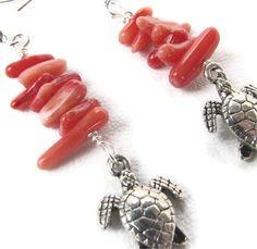 Your place to buy and sell all things handmade Sea Turtle Jewelry, Turtle Earrings, Hawaiian Sea Turtle, Tiny Turtle, Red Coral, Turtles, Sea Glass, Etsy Earrings, Bracelet Watch