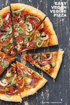 Easy Veggie Vegan Pizza with 20 minute Almost No Knead Crust! The Best Pizza with simple Sauce, Veggies, Mushrooms, Kalamata Olives baked to perfection. Dressed with Vegan Parmesan and fresh basil. Nut-free with nut-free vegan parm. Vegan Foods, Vegan Dishes, Vegan Vegetarian, Vegetarian Recipes, Healthy Recipes, Vegan Keto, Raw Vegan, Whole Food Recipes, Cooking Recipes