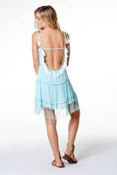 789e1c7f96 Santorini Boho Chic Blue Low Back Dress with Bead & Tassel Adornments. Fun  Beach Party / Cruise Vacation Dress