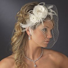 Double Flower and Feather Fascinator with Birdcage Bridal Veil - lovely!