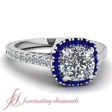 WOW!! 1.10 Ct Halo Cushion Cut Diamond & Blue Sapphire