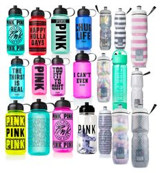 """Pink water bottles"" by millieconnolly ❤ liked on Polyvore featuring interior, interiors, interior design, home, home decor, interior decorating, Victoria's Secret PINK and Victoria's Secret"