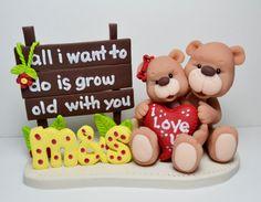 Polymer clay figurine  Love teddy bears by HandcraftedCuties, $50.00