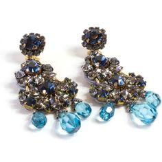 Rada Sapphire Blue Rhinestone Earrings ($145) ❤ liked on Polyvore