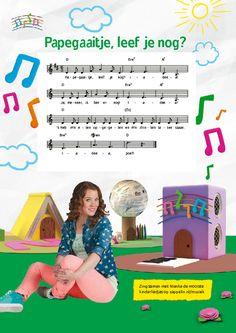 Zing mee met de kinderliedjes. Bladmuziek van Papegaaitje, leef je nog?