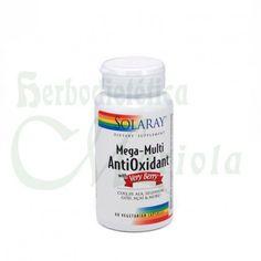 Solaray, Mega-Multi AntiOxidant, antioxidantes claves para el cuerpo como la vitamina E, ácido alfa lipoico y glutation, a esto hay que añadir el poder antioxidante de frutos