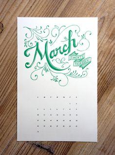 Free Printable March calendar by Samantha Sullentrup