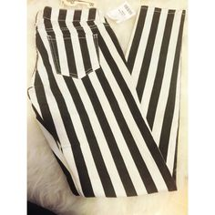 Weekend Sale‼️Black and White Stripe Skinny Jeans Super cute brand new black and white stripe jeans. Comes in a size 7 (juniors size is like a medium). Great to pair with a black blouse and white converses. ** no trades* Wax Jeans Skinny