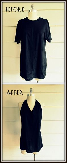 DIY - no sew tee shirt, tied halter.