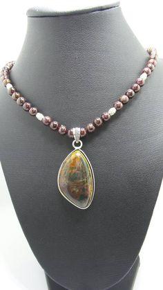 Handmade Bloodstone beaded necklace with Bloodstone Pendant. by FierStaarGems on Etsy