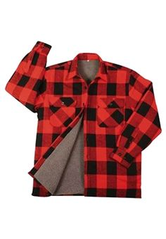 Red Buffalo Plaid Brawny Sherpa Lined Flannel Jacket @$49.99 ! Buy Now at gorillasurplus.com