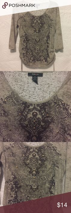 Style & Co. Women's Top Style & Co. Women's Top, Size Medium.  Decorative metal and stones in front, round scoop necklace with draw strings on the sides.  Cotton /Polyester.  24 inches from shoulder to hem.  Very Good Condition. Style & Co Tops Blouses