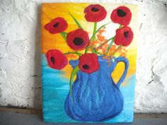 poppy picture art poppies wet felted art by SueForeyfibreart, $122.00