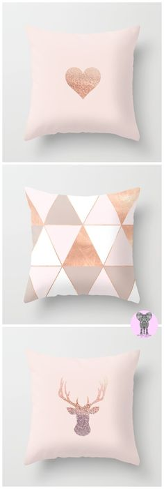 LOVE !!!  Pale rosegold pillows designed by Monika Strigel come in three sizes and are so perfect with this lovely pale rose and pastel tones. Heart, triangles, stag and many more, when you click on the link. Starting at $20
