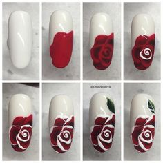 "with ・・・ [reklame] Take time to smell the roses 🌹 All ""Real red"" and ""Black tie"" buttercream and White gelpaint Rose Nail Design, Rose Nail Art, Floral Nail Art, White Nail Art, Red And White Nails, Nail Art Designs Videos, Nail Art Videos, Nail Designs, Nail Art Hacks"