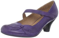 """Miz Mooz - """"Petal Pump"""" (in purple) - Antiqued leather, stacked ≈ 2"""" heel, soft leather lining, Hook-&-loop closure on the instep strap (makes for easy adjusting), foam footbed, EVA midsole, rubber outsole - Reg Price: $119.99  via Amazon.com - Sale Price: $63.57-$126.99 (lower price avail on select opts)"""