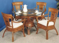 Captiva Rattan Stained Dining Suite from Summit Design | Stained Wicker Dining Furniture | americanrattan.com