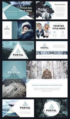 Portal Modern Powerpoint Template ~ Presentation Templates on Creative Market - Graphic Sonic Web Design, The Design Files, Slide Design, Book Design, Layout Design, Indesign Presentation, Presentation Layout, Presentation Templates, Portfolio Design