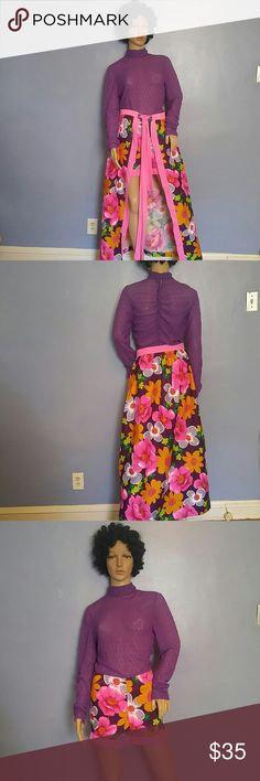 """Vintage 70s Jumpsuit and Skirt Ensemble Size Small Vintage 70s """"Shorts """" Jumpsuit and Skirt Ensemble Size Small. Floral Hawaiian Bark Cloth Skirt and Shorts Portion of Jumper. Top of Jumper Has Textured Purple Lace Stretch Fabric. Comes with Pink Matching Belt. Only Size Label. Really Nice Condition ! Ruched back with long back zipper. As 70s Cool as it Gets ! Fits size 2-4 Vintage Dresses"""