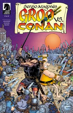 Groo vs. Conan #4 The final showdown between the world's greatest warrior and comics' biggest idiot! Conan fights for his kingdom, Groo fights for his bakery, and Sergio and Mark fight for their comic shop . . . Triple story lines collide in a chaotic climax of barbaric proportions!